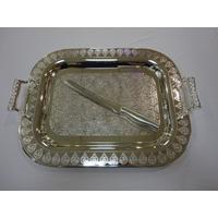 Plateau et couteau à pain de Chabbat en nickel.