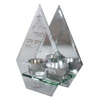 Bougeoirs avec déco protection triangulaire  en verre
