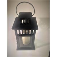 Lampe tombale  en métal noir et verre