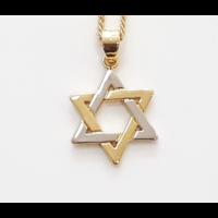 Pendentif Maguen David plaqué or et argent massif avec chaine en plaqué or