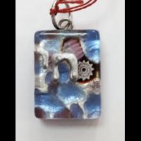 Pendentif en verre de murano bleuté