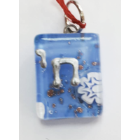 Pendentif en verre de murano bleu