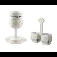 Verre à kiddouch et salière en porcelaine