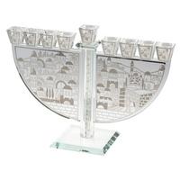 Hanoukia en cristal montée sur  socle et décoration jérusalem