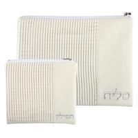 Housse de talit et téfilines en suédine blanche et tissu