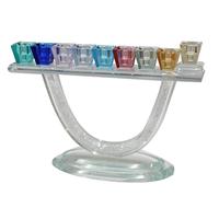 Superbe Hanoukia en verre coloré