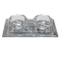 Bougeoirs en verre sur socle incrusté de pierres