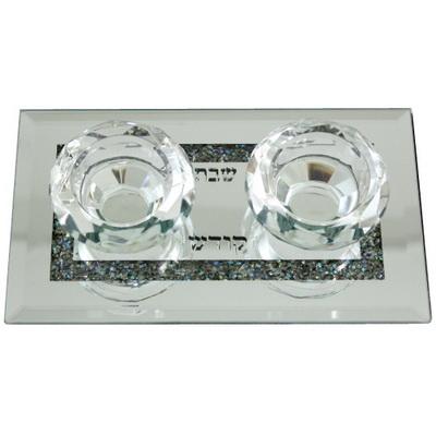 Bougeoirs en cristal sur socle miroir