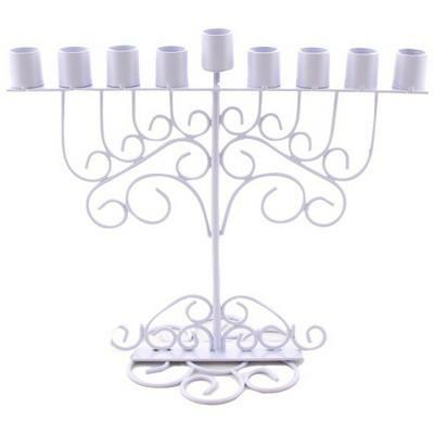 Hanoukia en metal  blanc
