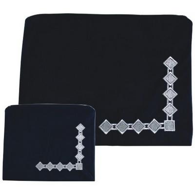 Housse talit Téfilines en velours bleu marine avec broderies