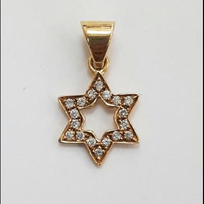 Maguen David en or jaune et diamants 18 carats