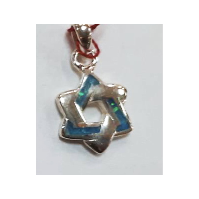 Pendentif Etoile de David bleu et  argent