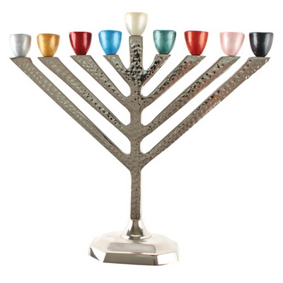 hanoukia en aluminium avec branches en couleur