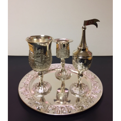 Set havdala en métal argenté avec déco Jérusalem