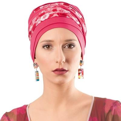 Turban prêt à porter Doris fleurs rose en fibres de bambou