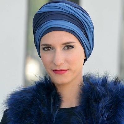 Turban Leslie Bleu marine et bleu ciel