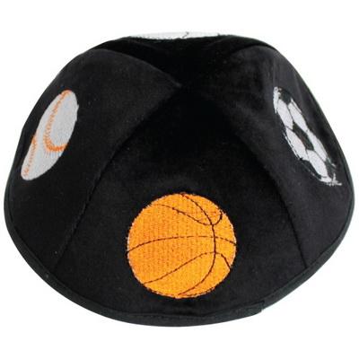 Kippa velours noir enfant broderie ballons foot