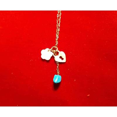 Pendentifs pierre d'Eilat petit coeur et rose en nacre avec chaine plaqué or
