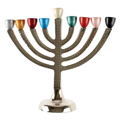 Hanoukia en aluminium avec têtes de bougies multicolores
