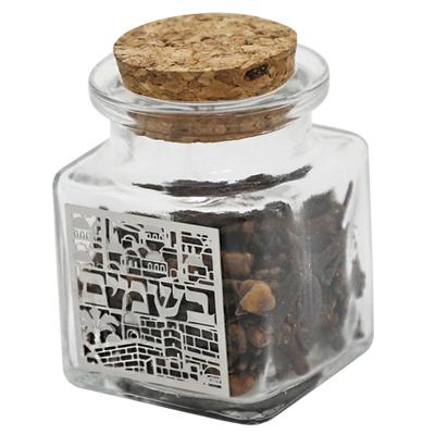 Bessamim présentés dans un petit pot avec déco Jérusalem