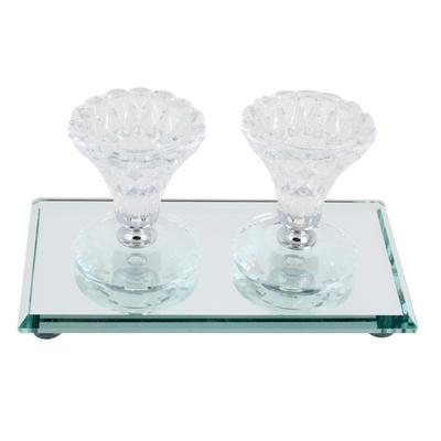 Bougeoirs sur socle cristal