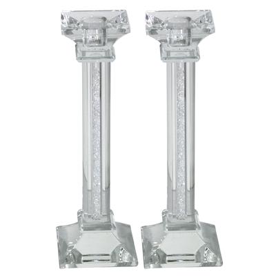 Bougeoirs style colonnes en cristal avec déco brisures de verre