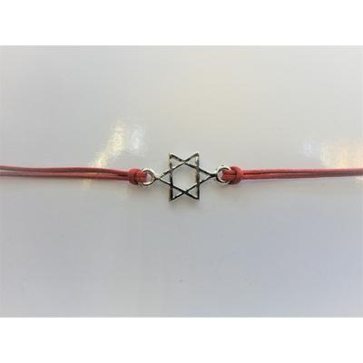 Bracelet cordon rouge avec Maguen David argentée