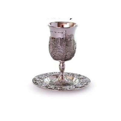 verre à kiddouch avec soucoupe