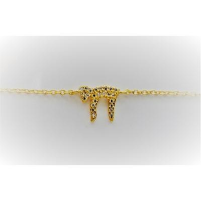 Bracelet plaqué or jaune Hai et zirkon
