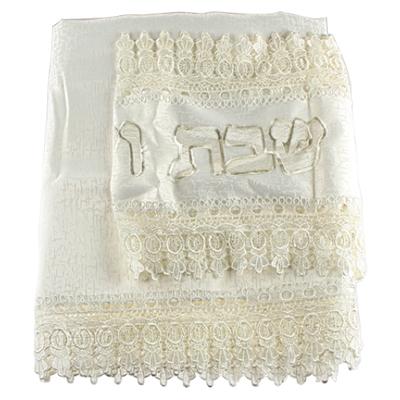 Nappe blanche avec chemin de table brodé 220X140 cm