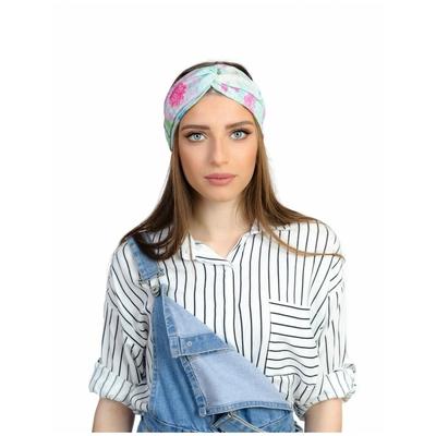 Bandeau turban imprimé  bleu blanc et rose Rinati Lakel