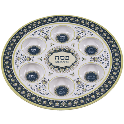 Plateau de Seder de Pessah en Mélaminé Bleu