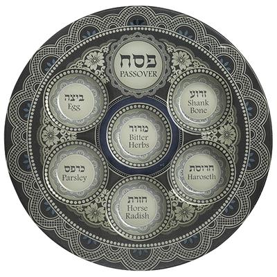Plateau de seder de Pessah en verre peint 40 CM