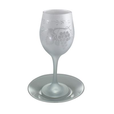 Verre à Kiddoush en verre couleur Blanche