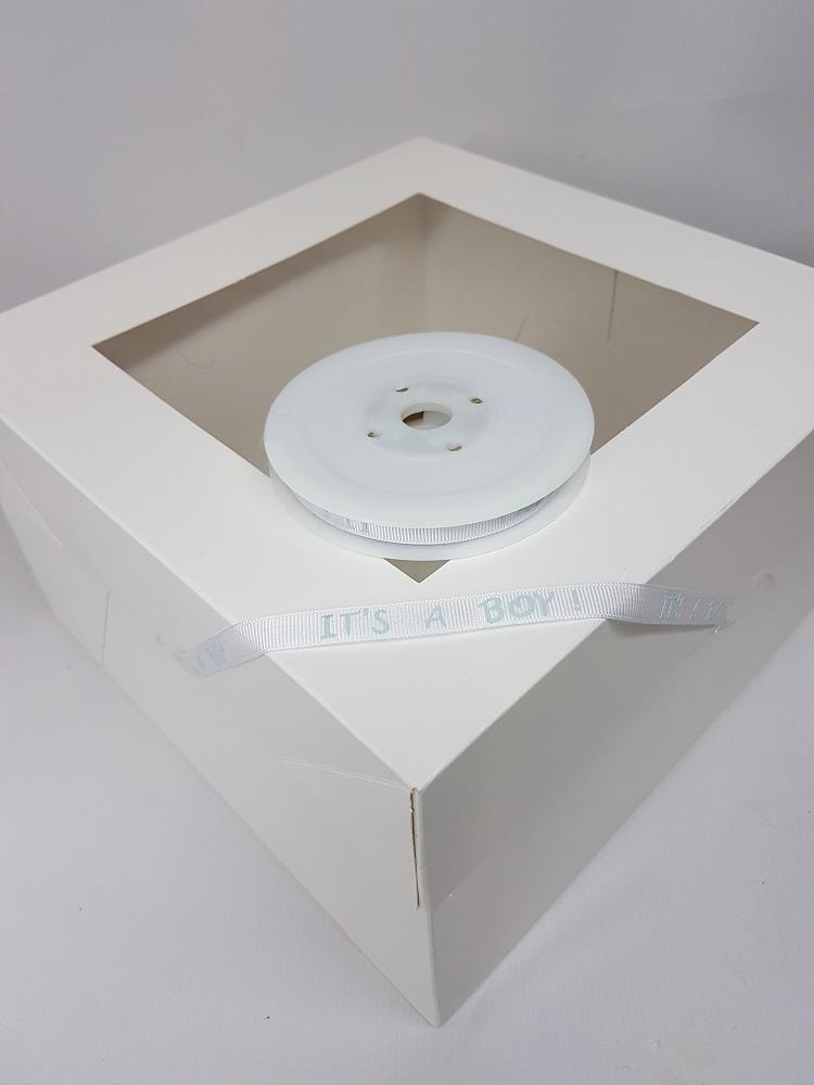 Ruban Grosgrain 1 M – Blanc (It's a boy) – 1 cm