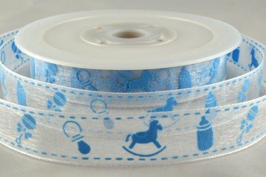 Ruban en satin pure 1 M – Bébé bleu –  1.5 cm