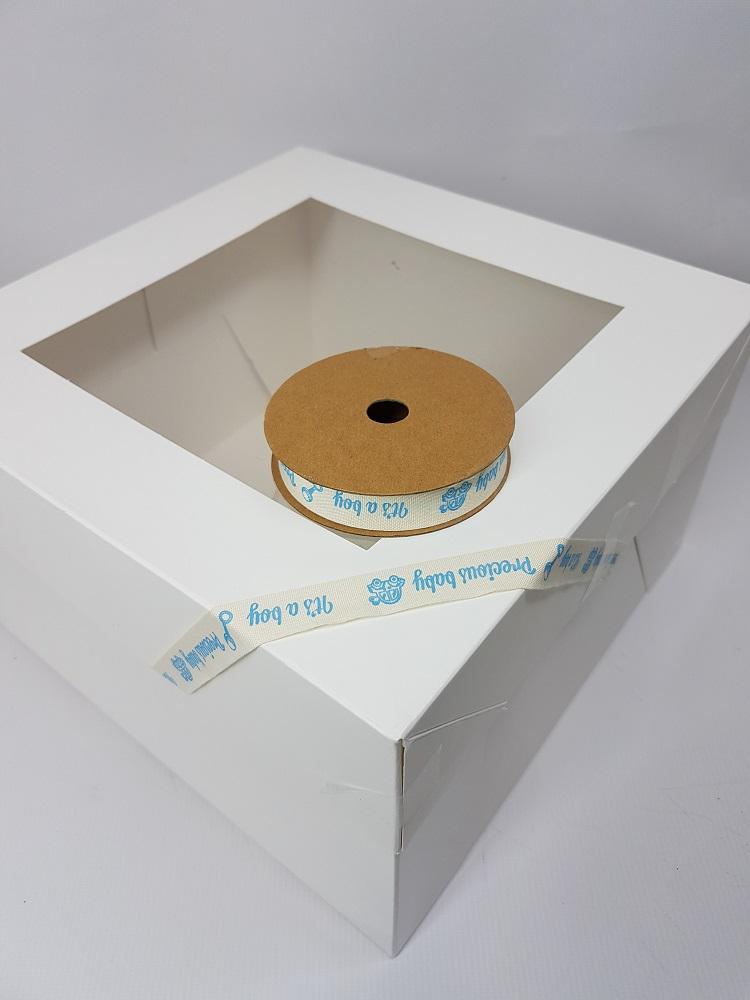 Ruban en coton 1 M - Crème (precious baby boy) - 1.5 cm