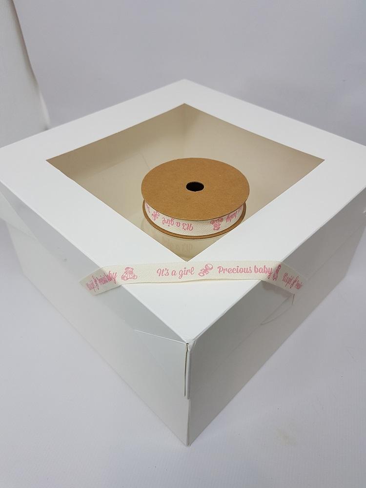 Ruban en coton 1 M - Crème (precious baby girl) - 1.5 cm