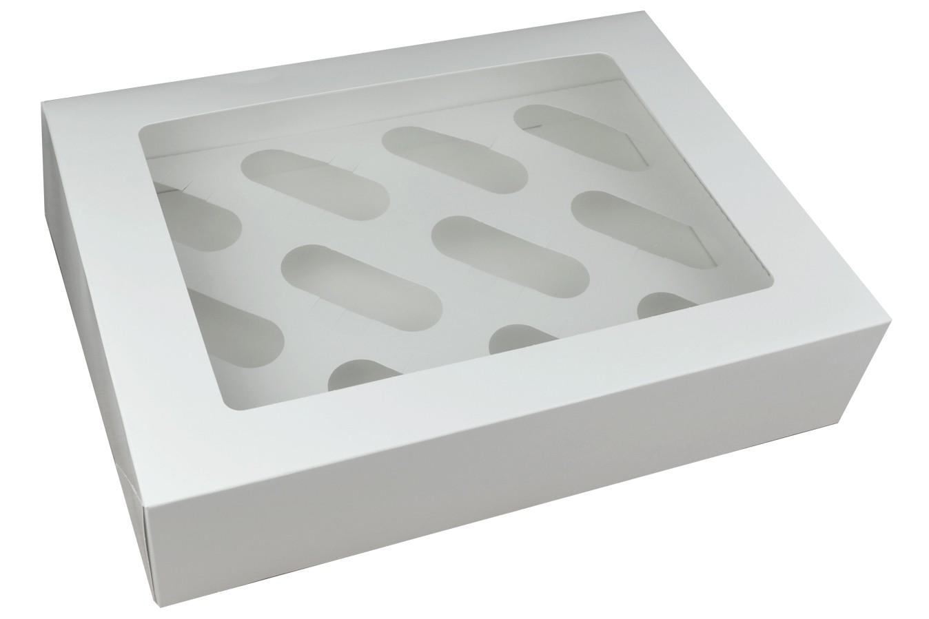 Boîte pour 12 cupcakes - Blanc - Lot de 3