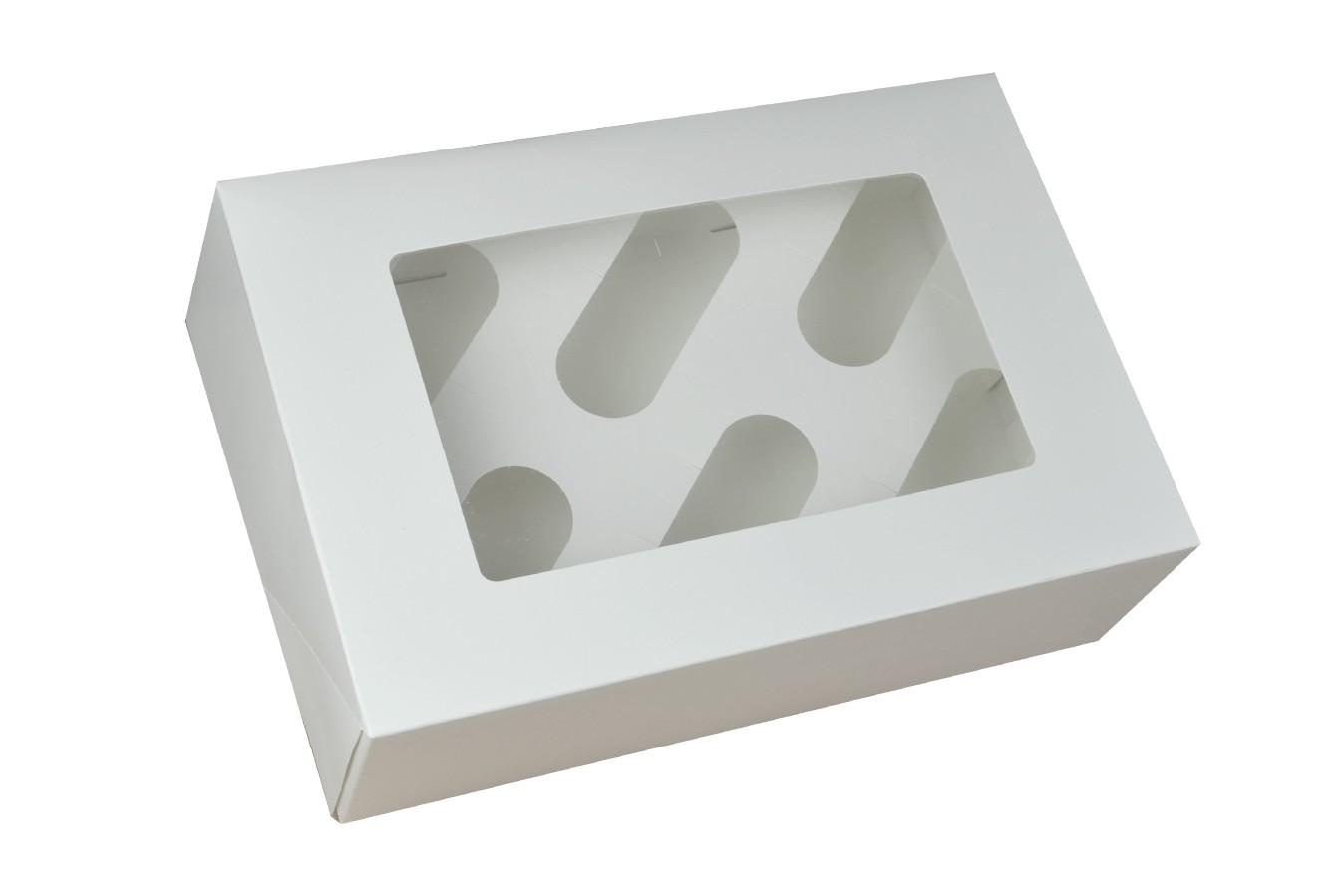 Boîte pour 6 cupcakes - Blanc - Lot de 3