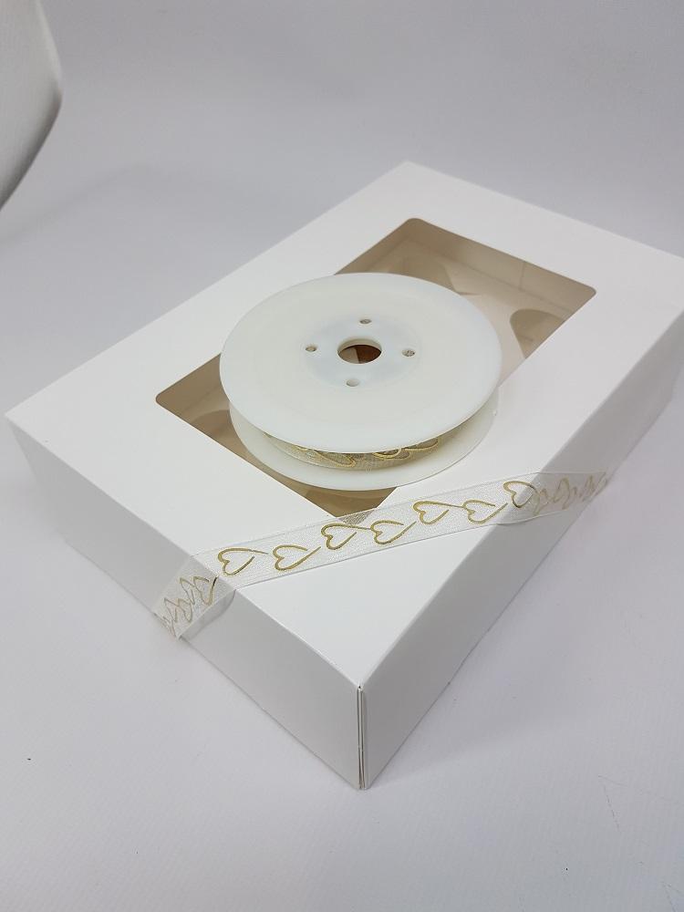 Ruban 1 M - Crème ( coeur en or) - 2.5 cm