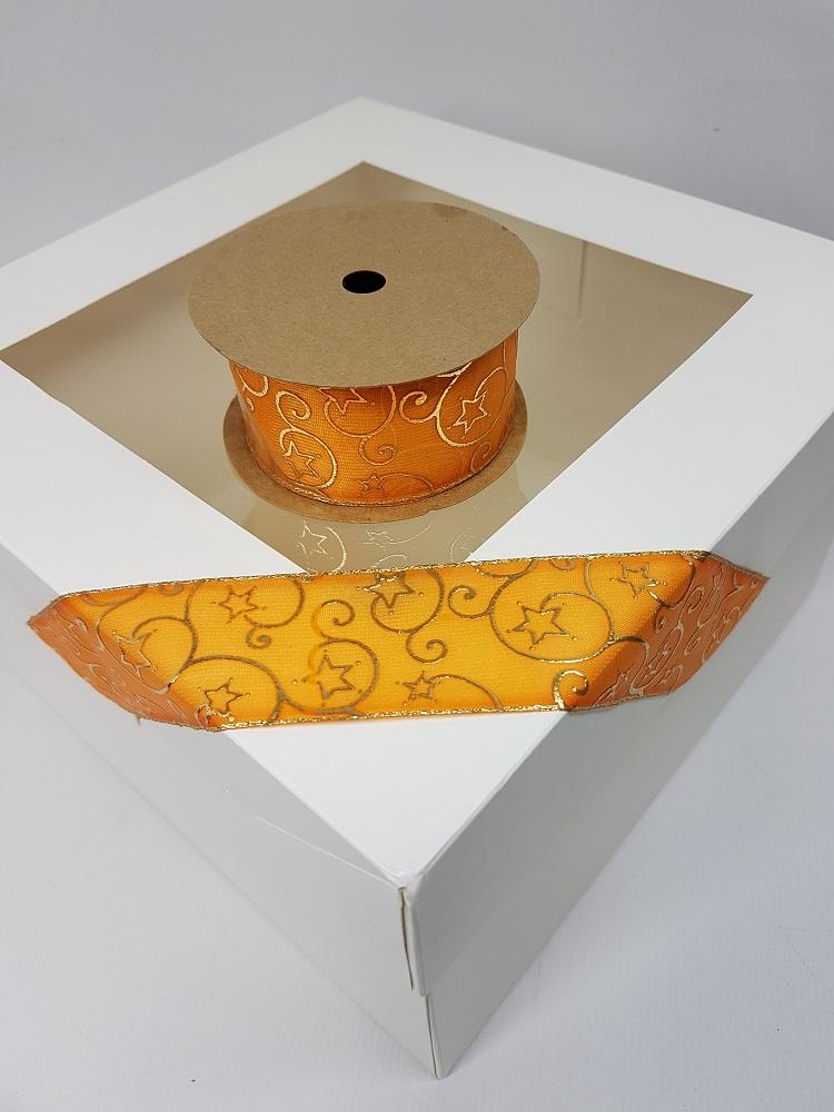 Ruban à câble 1 M – Orange (Etoiles en or) – 4 cm