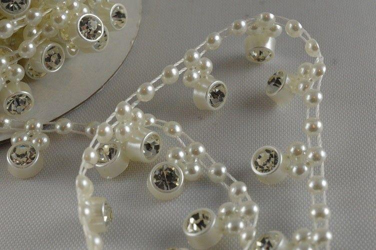 Ruban de perles à cristaux 1 M - Crème - 1.2 cm