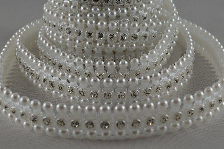 Ruban de perles à cristaux 1 M - Blanc - 1.2 cm