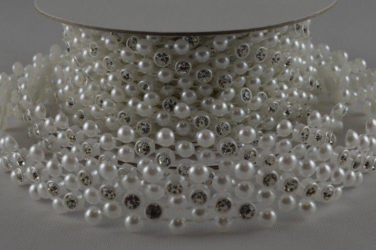 Ruban de perles à cristaux 1 M – Blanc – 1.4 cm