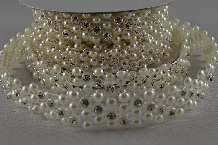 Ruban de perles à cristaux 1 M - Crème - 1.4 cm