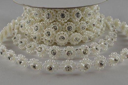 Ruban de perles à cristaux 1 M - Crème - 0.8 cm