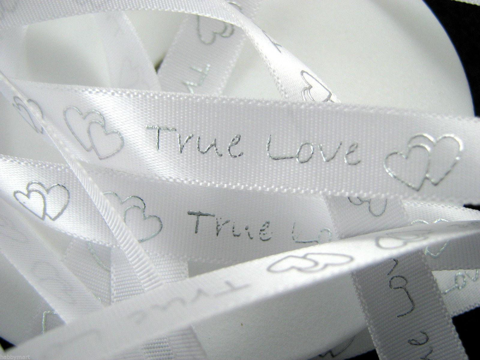 Ruban 1 M - Blanc ( True Love ) - 1 cm
