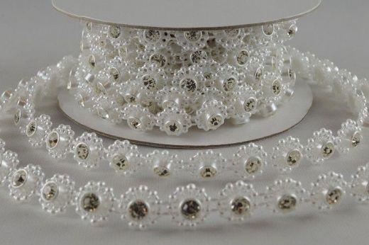 Ruban de perles à cristaux 1 M - Blanc- 0.8 cm