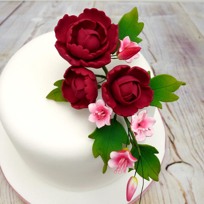 Fleur en sucre - Pivoine 15 cm- Rouge rubis